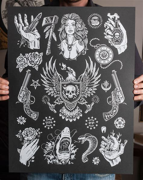 traditional tattoo black and grey flash inside the rock poster frame blog derrick castle american