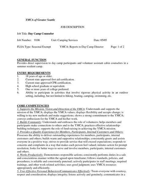resume sle for summer c counselor duties resume resume ideas