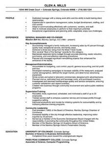 Exle Project Manager Resume by Free Manager Resume Restaurant Manager Resume Sle