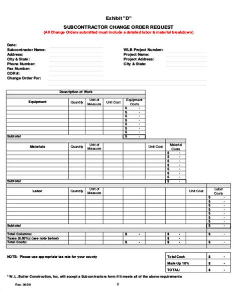 Change Order Request Form Beneficialholdings Info Subcontractor Information Form Template