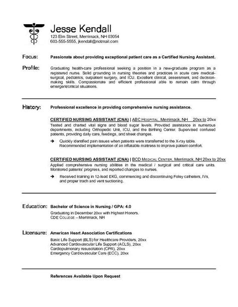 Certified Assistant Resume by Cna Resume Sles Lifiermountain Org