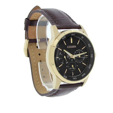 Swiss Army 2265 Rosegold Brown Leather Original Citizen Eco Drive Mens Day Date Gold Brown Leather