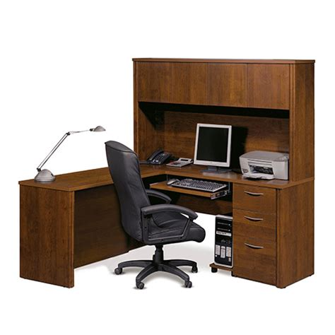 70 Inch Computer Desk by Embassy Tuscany Brown 70 Inch Wide L Shaped Workstation