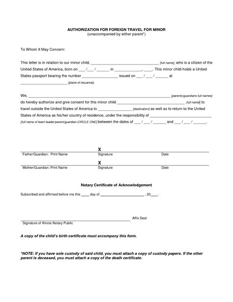 authorization letter unaccompanied minors child travel consent form free minor letter us for 15