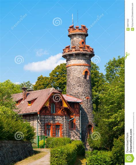 house with tower fairytale house with tower stock photo image 58377222