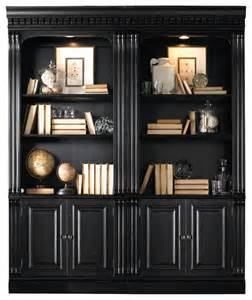 Bookcase With Doors Black Telluride Bunching Bookcase With Door In Black Transitional Bookcases By Bedroom