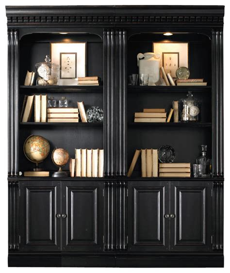 Black Bookshelf With Doors Telluride Bunching Bookcase With Door In Black