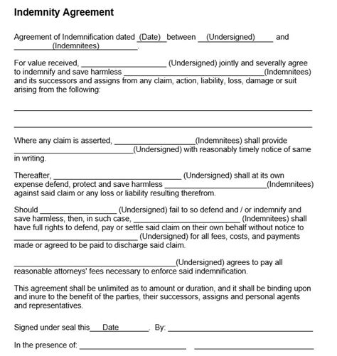 indemnity agreement template 10 free sle indemnity agreement templates printable