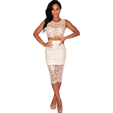 30580 Lace Dress White aliexpress buy 2016 new fashion 2 set white lace dress knee length midi