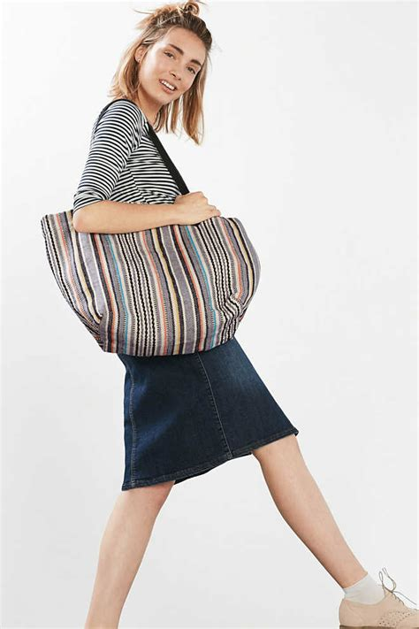 esprit shopper with stripes cotton leather at our