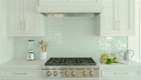 Backsplash For White Kitchen Cabinets by White Kitchen Cabinets With Blue Glass Tile Backsplash