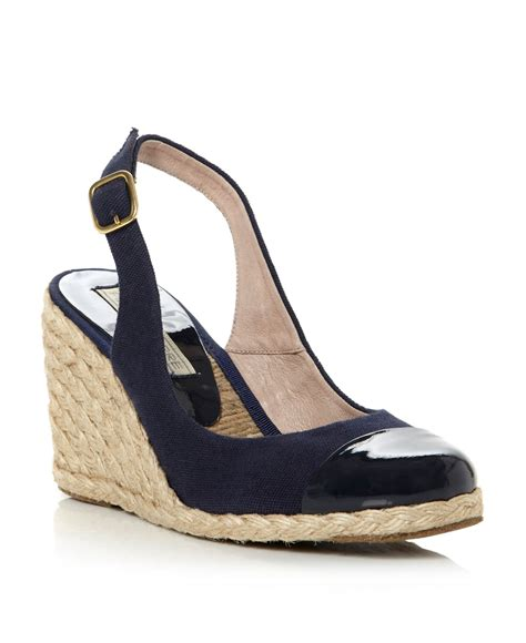 pied a terre chay toe cap espadrille wedge shoes in blue