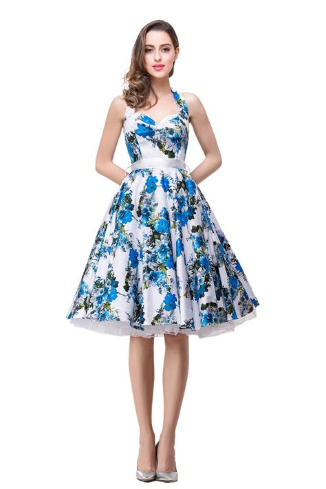 Blue Flowers Print Cocktail Dress floral dresses for cocktail