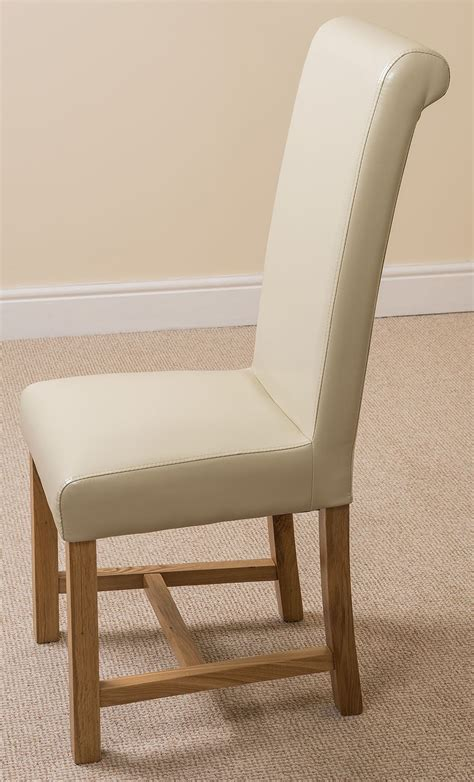 Ivory Dining Room Chairs Washington Braced Scroll Back Ivory Leather Dining Room Kitchen Chairs Ebay