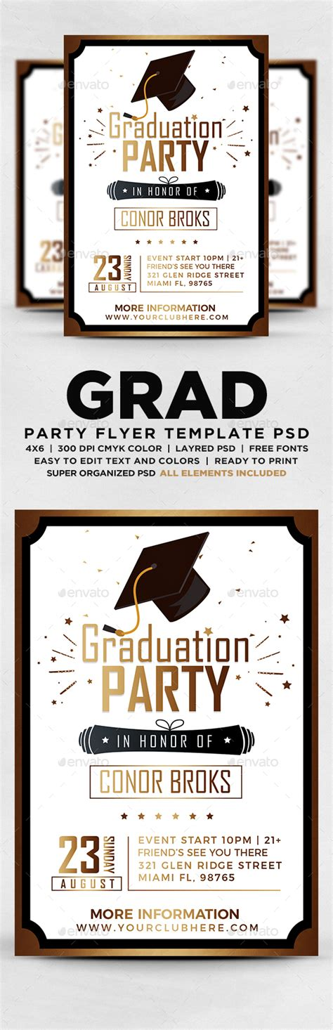 Graduation Party Flyer By Designblend Graphicriver Graduation Flyer Template Free