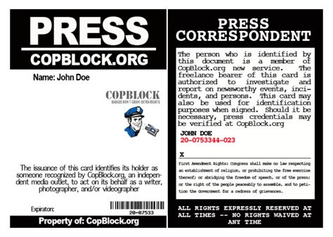 press pass request template flyers cop block