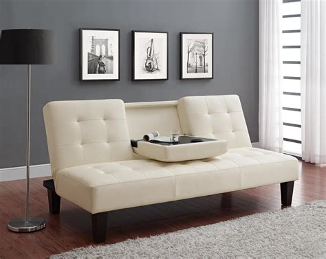 sofa un dhp furniture julia convertible sofa bed with drink holder