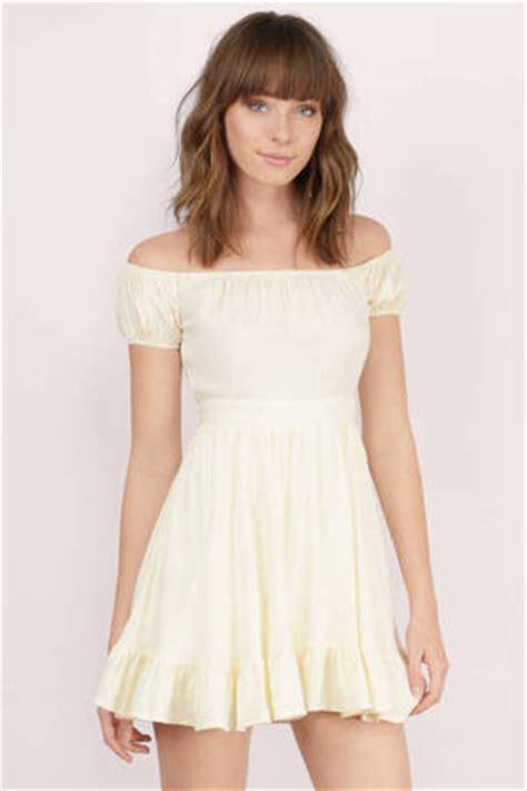 cute cream skater dress  shoulder dress skater