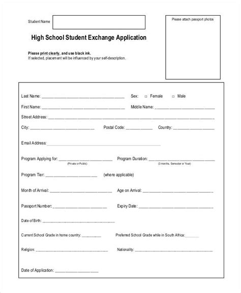 application template for students 31 student application form exles