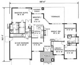 House Floor Plan by One Story Home 6994 4 Bedrooms And 2 5 Baths
