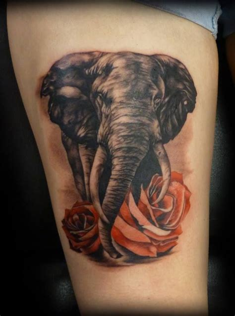 cool elephant tattoos cool flower and elephant on leg