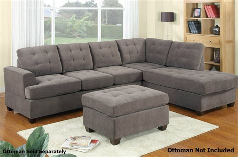 poundex gustav f7137 grey fabric sectional sofa a