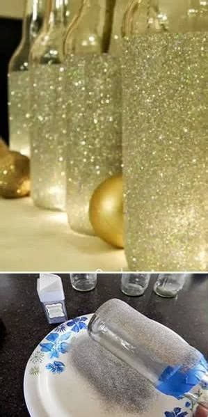 Decorating Glass With Glitter by Glass Bottles Glitter And Bottle On