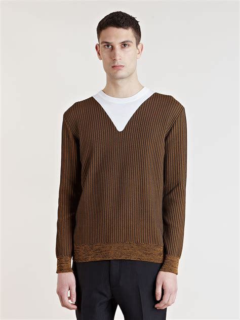 mens knit pullover lyst balenciaga mens ribbed knit pullover in brown for