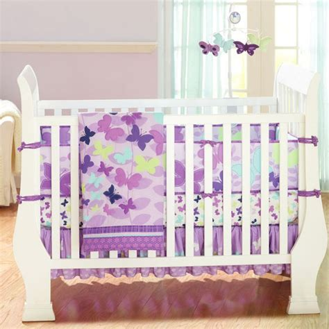 bedding nursery sets butterly purple 4pcs baby crib bedding set quilt bumper sheet dust ruffle ebay