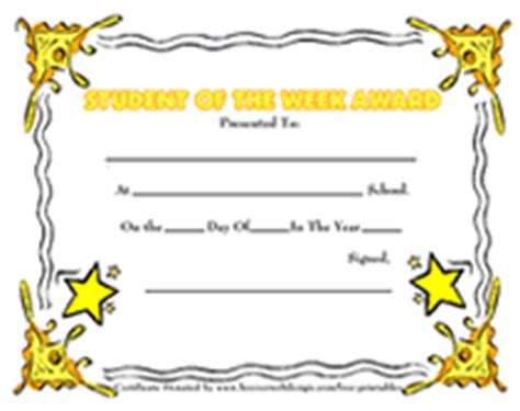 student of the week certificate template free printable student of the week awards school certificates