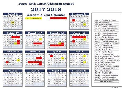 Calendar 2018 Religious Holidays Peace With Christian School 2017 2018 Calendar