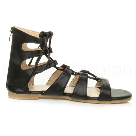 lace up ankle sandals womens flat lace up strappy ankle tie gladiator