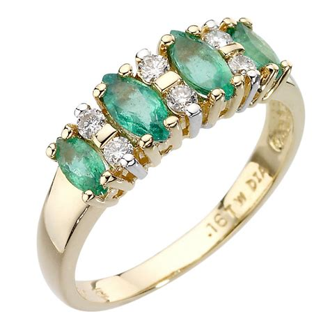 18ct gold marquise cut emerald and ring ernest jones