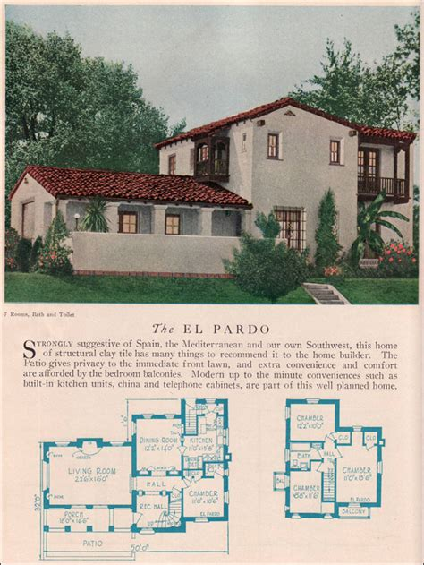 small spanish house plans the el pardo 1929 home builders catalog the el pardo is a