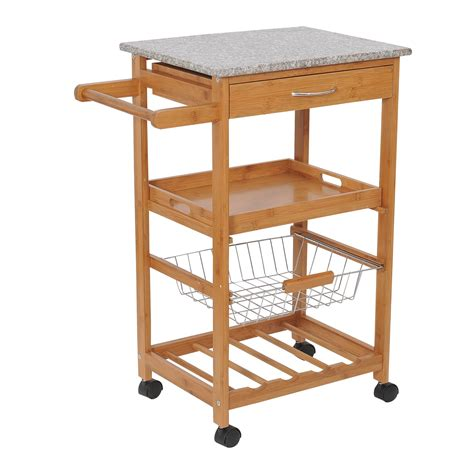 """HomCom 31"""" Rolling Wooden Kitchen Trolley Cart with Wine"""