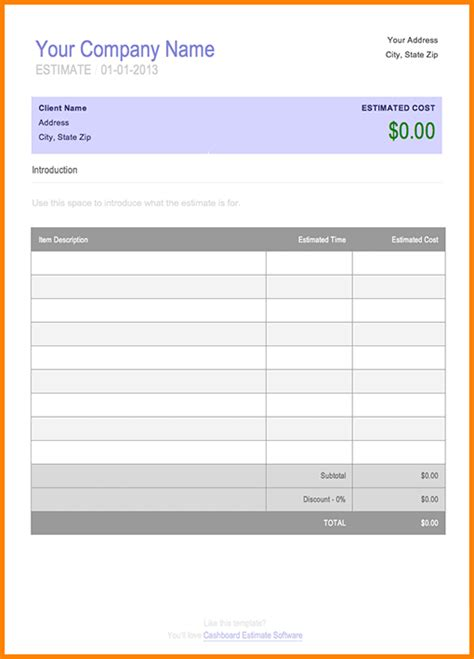 Bill Estimate Template 7 estimate bill format simple bill