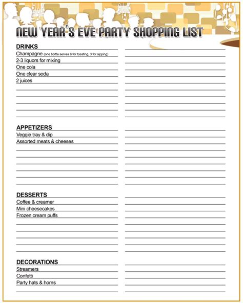 new year list printable new year s shopping list