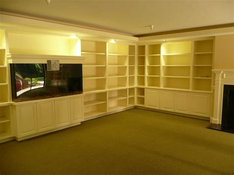 made built in aquarium and bookcases and millwork by