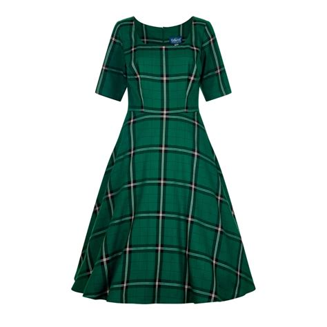 swinging suits collectif vintage amber evergreen check swing dress
