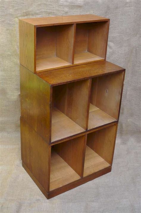 unix 3 section modular bookcase system in oak sold