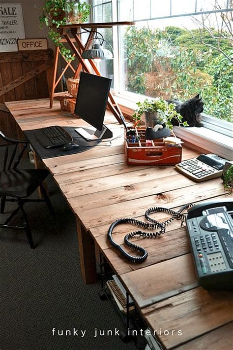 Picture Of Large Diy Desk Made Of Wood Pallets Diy Large Desk