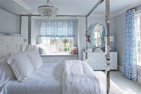 white and blue bedroom white and blue bedroom with stainless steel canopy bed transitional bedroom