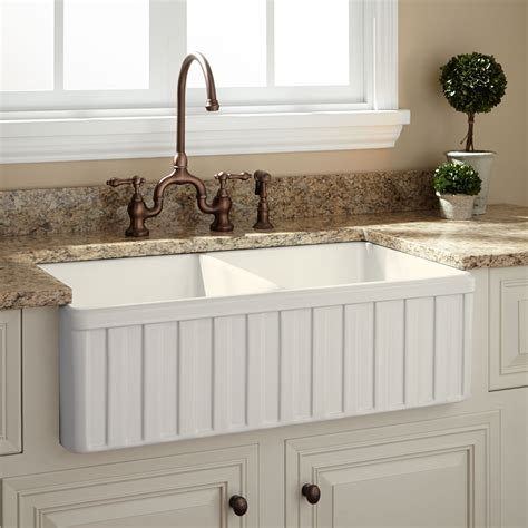 33 Quot Oldham Bowl Fireclay Farmhouse Sink Fluted