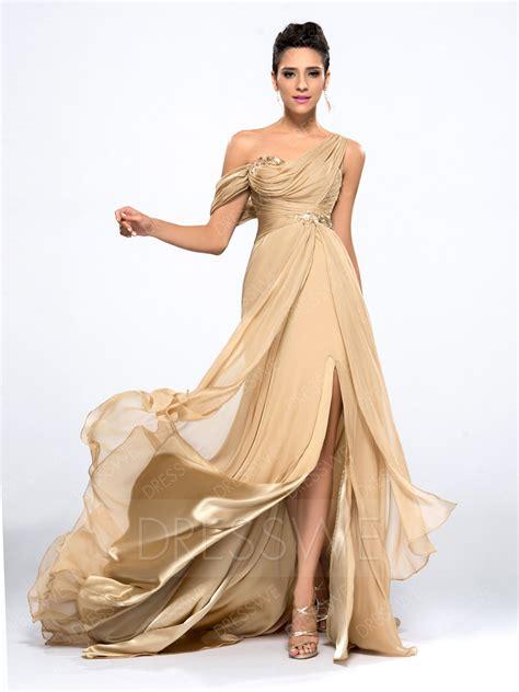 Elegance Dress gorgeous split front one shoulder a line floor length sweep brush evening dress 10990221
