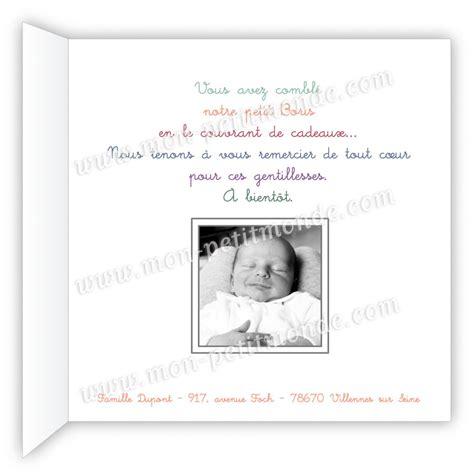 Modèle De Lettre De Remerciement Pour Naissance Carte De Remerciement Naissance Boris Mon Petitmonde