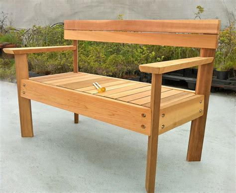 how to make a small wooden bench casual patio design with nice plants on black pot and