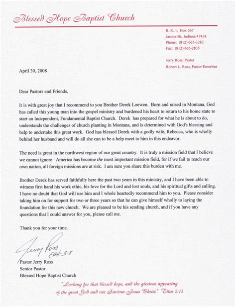 Letter Of Recommendation Youth Pastor pastors letter of recommendation