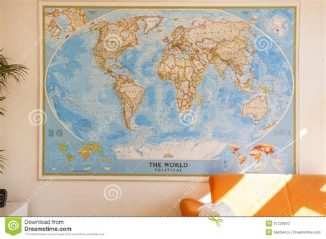 World Map Living Room Wall Map In The Room Stock Photo Image 51229970