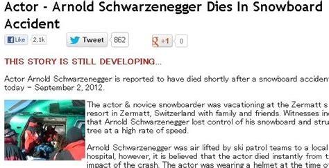 actor arnold schwarzenegger dies in snowboard accident actor arnold schwarzenegger dies in snowboard accident