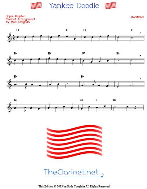 yankee doodle remix free free printable sheet for clarinet clari